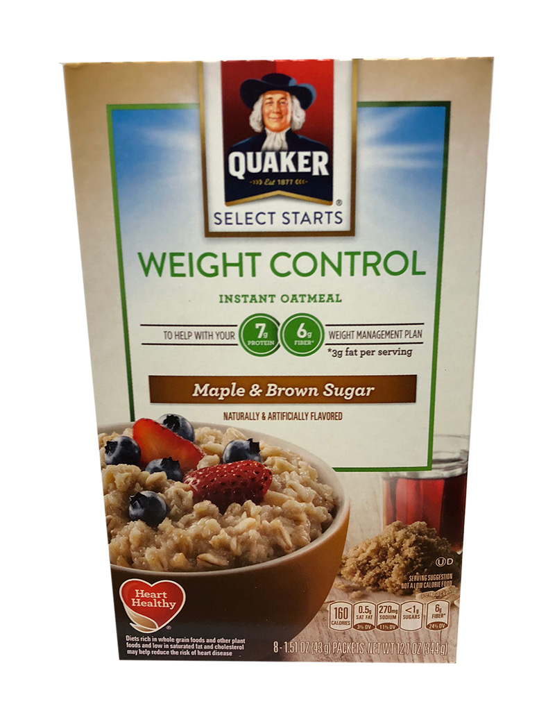 Quaker Weight Control Instant Oatmeal - Maple & Brown Sugar