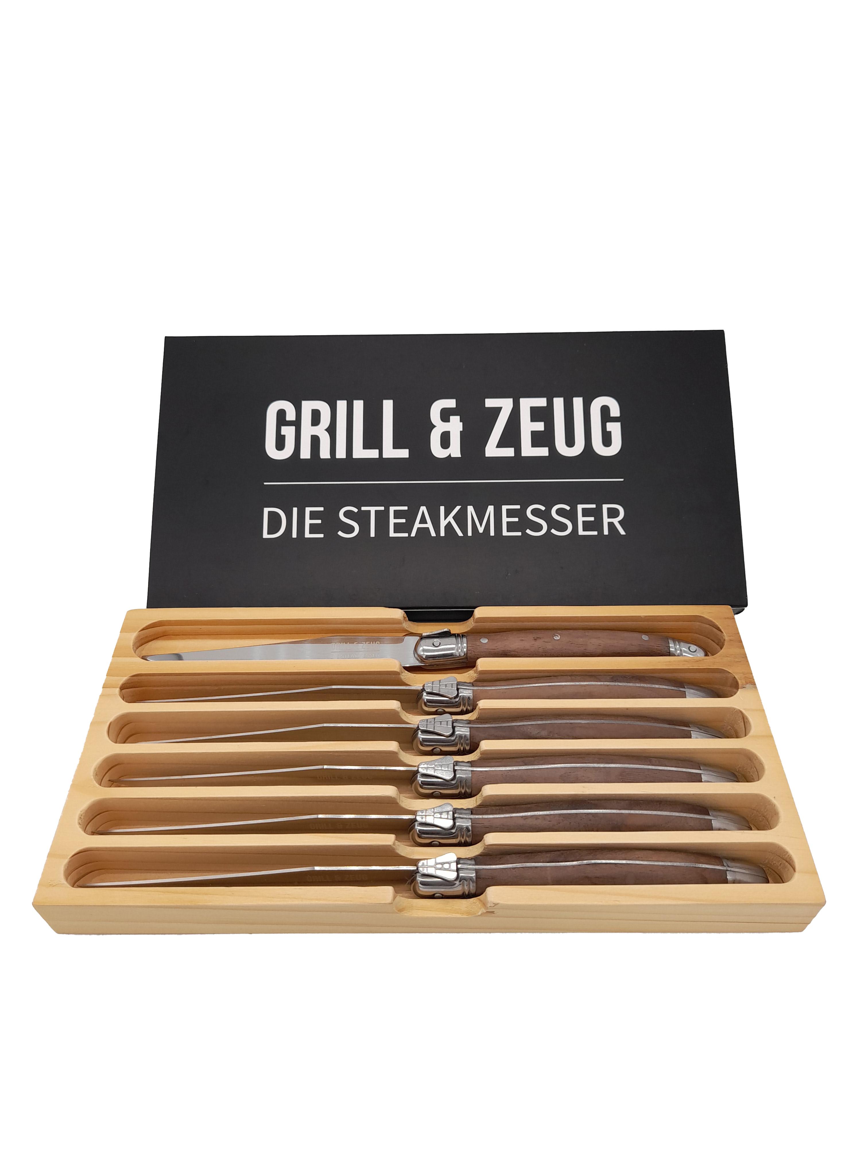 Grill & Zeug Die Steakmesser, Messer-Set (6 Stück) in Holzverpackung