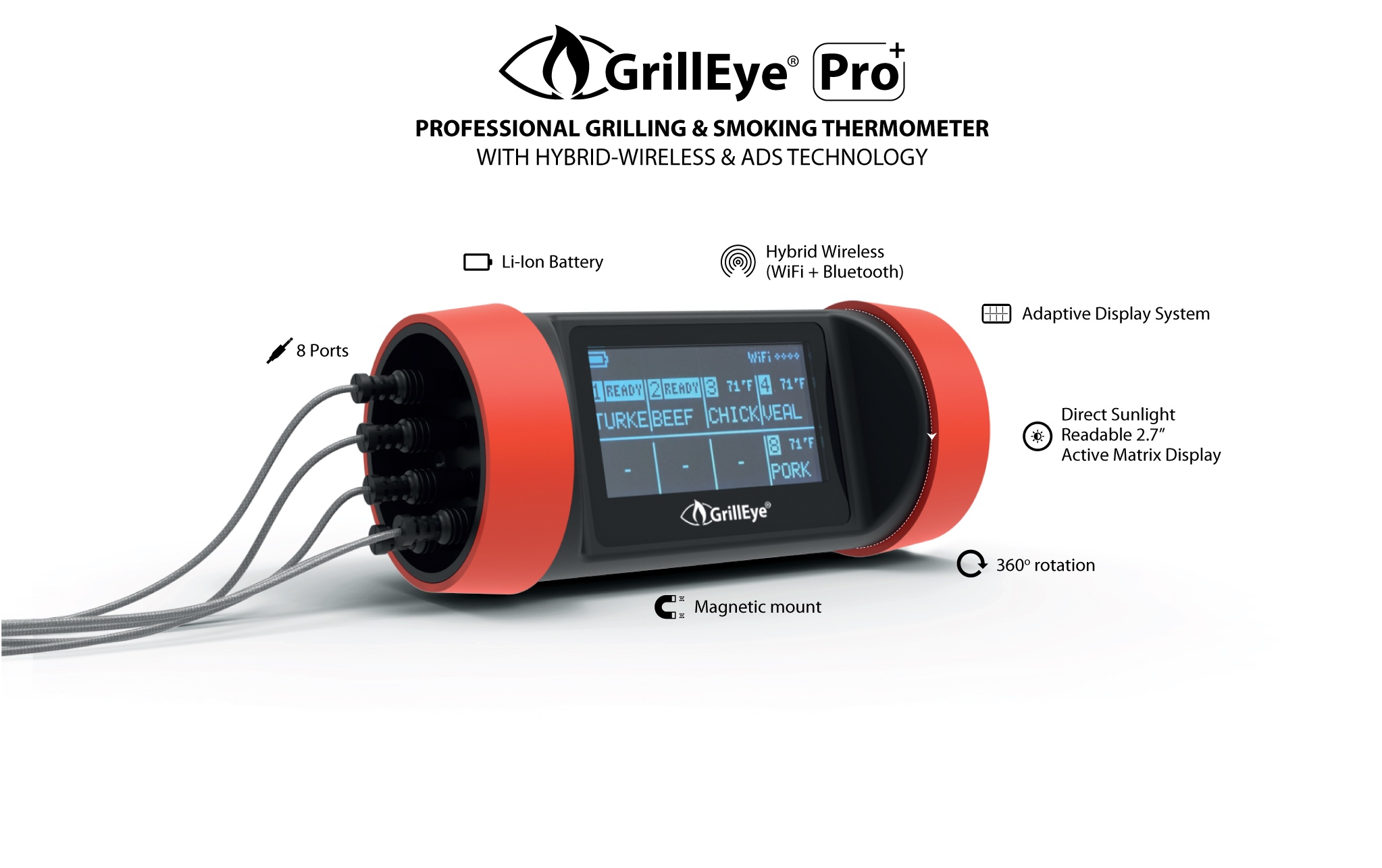GrillEye Pro Plus - Proffessional Grilling & Smoking Thermometer with Hybrid Wireless & ADS Technology