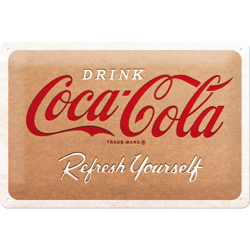 Coca Cola - Cardboard Logo Blechschild 20 x 30 cm