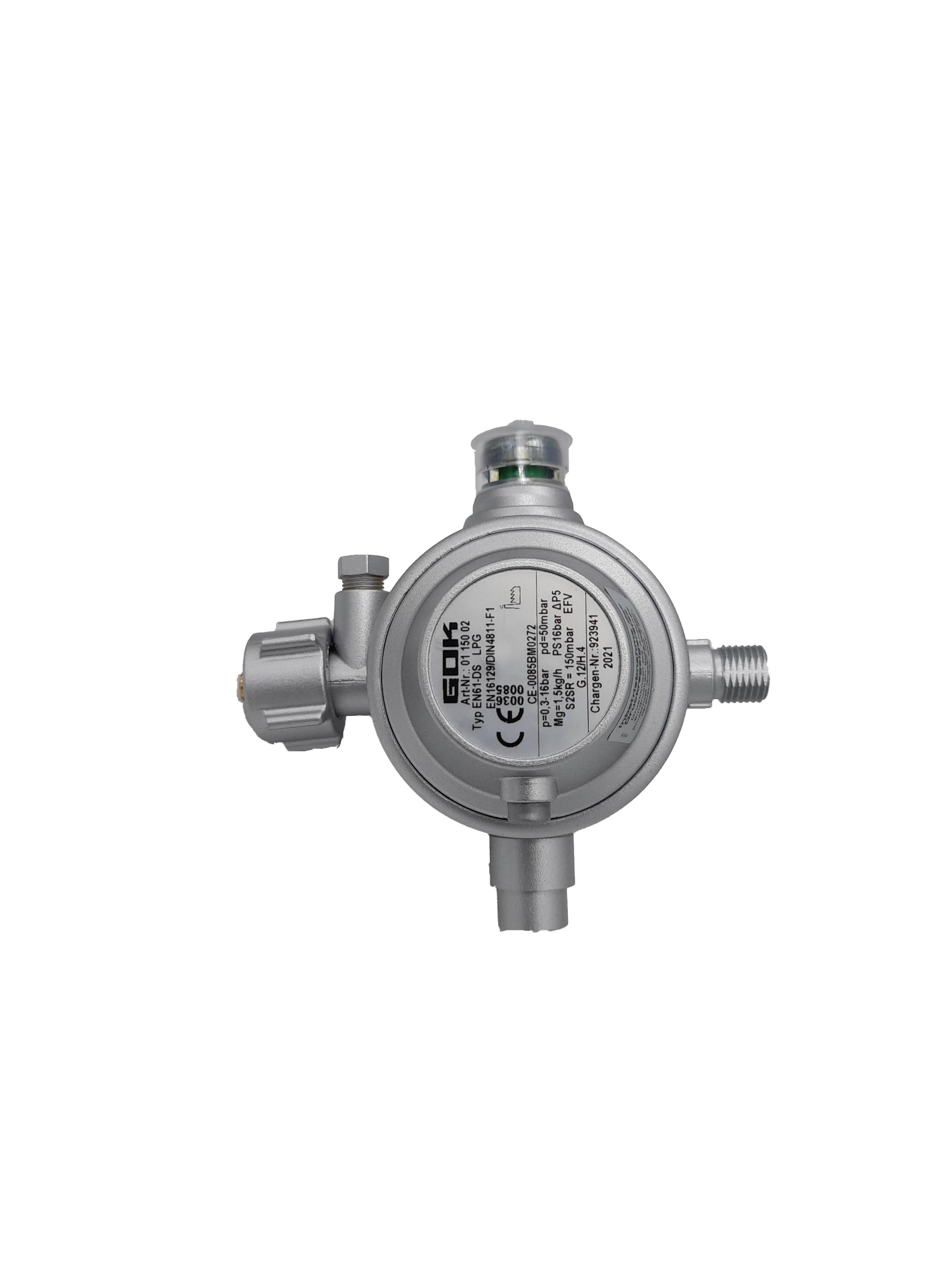 GOK Gasregler Typ EN61-DS 1,5kg/h 50mbar (inkl. Überdrucksicherheitseinrichtung & Schlauchbruchsicherung)