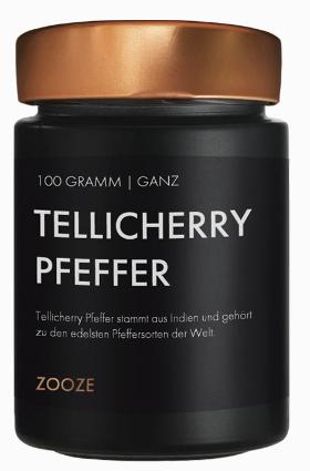 ZOOZE Tellicherry Pfeffer (Ganz)  100g Schraubglas