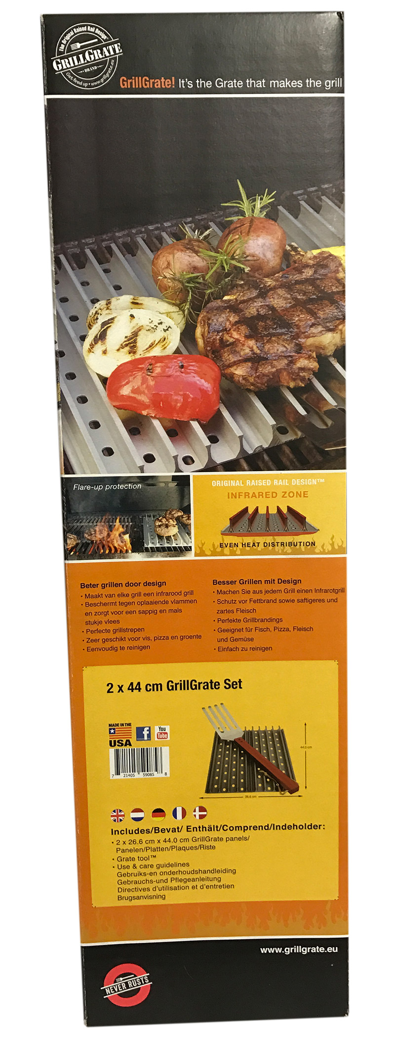 Grill Grate (44 x 26,6 cm) Kit + 1 Grate Tool