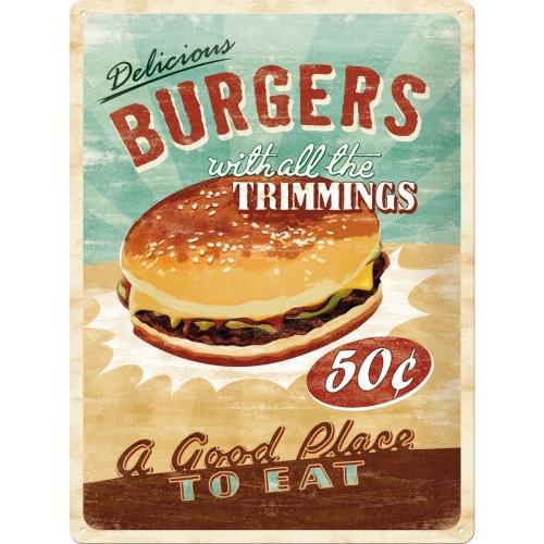 """Blechschild """"Burger"""" (30x40cm)"""