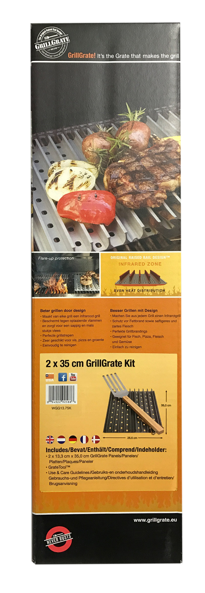 Grill Grate (35 x 26,6 cm) Kit + 1 Grate Tool