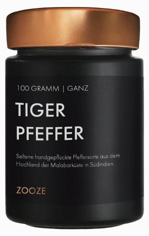 ZOOZE Tiger Pfeffer (Ganz) (Malabar Pfeffer) 100g Schraubglas