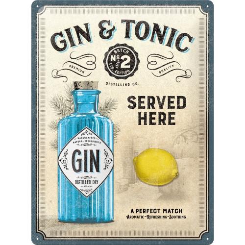 Gin & Tonic Served Here Blechschild 30 x 40 cm
