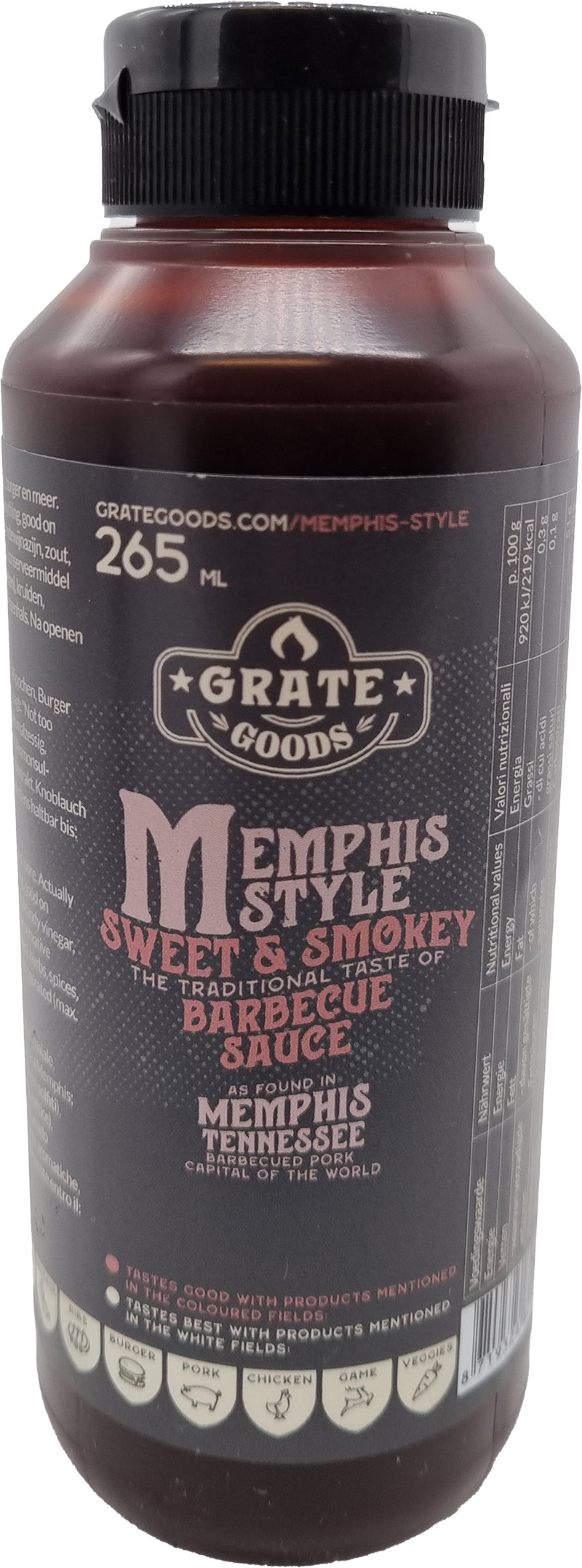 Grate Goods Memphis Sweet & Smokey BBQ Sauce 265ml
