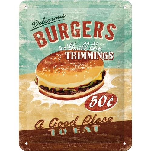 """Blechschild """"Burgers"""" (15x20cm)"""