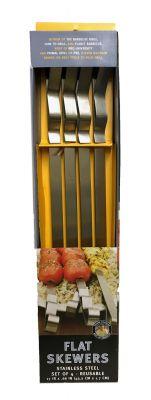 Steven Raichlen 4 Grillspieße Edelstahl 43,2 x 1,7 cm (nur Spieße ohne Halterung)